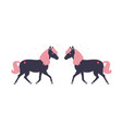 adorable little black horse with pink mane and its vector image vector image