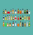 alcohol bottles line icons set flat design vector image vector image