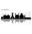 algiers city skyline black and white silhouette vector image vector image