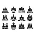 ancient castles logo medieval fortress with vector image vector image