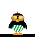 bird with glasses and green shorts vector image