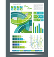 Blue and green technological banner with vector image vector image