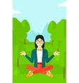 Business woman meditating in lotus pose vector image