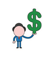 businessman character holding dollar color and vector image