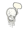 cartoon scary skull with speech bubble vector image vector image