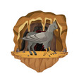 cave interior scene with hippogriff greek vector image vector image