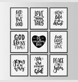 christian quotes hand drawn typography poster set vector image
