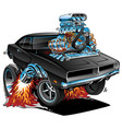 classic sixties style american muscle car cartoon vector image vector image