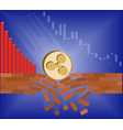 coin of ripple falls down with drop chart vector image