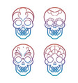 colorful mexican skulls on white background vector image