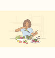 cooking hunger food health vegetarian care vector image