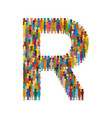 crowd of people in form of capital letter r flat vector image vector image