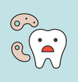 cute cartoon tooth and bacteria dental related vector image vector image