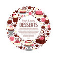 desserts banner or emblem cakes and cupcakes vector image vector image