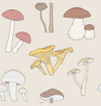 different mushrooms seamless pattern hand drawn vector image vector image