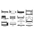 different types bed design frame and styles vector image vector image