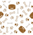 dog seamless pattern theme bone paw foot print vector image vector image