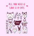 doodle cats love postcard valentine greeting card vector image vector image