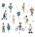 eco friendly people set man and woman protecting vector image vector image