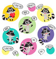 emoji emoticon stickers with cute raccoon vector image