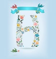 floral letter h with blue ribbon and three doves vector image vector image
