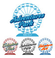 fun park logo with ferris wheel vector image
