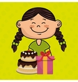 girl cake gift box vector image vector image