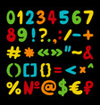 hand drawn set of numbers punctuation vector image