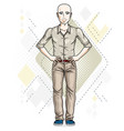 happy bald young adult man standing character vector image