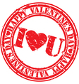 Happy valentine day I Love you stamp vector image vector image