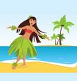 hawaiian hula dancer young pretty woman vector image vector image