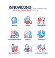 health problems line design style icons set vector image
