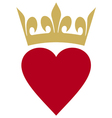 heart with crown vector image vector image