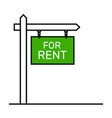 house for rent sign placard icon vector image