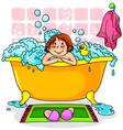 kid in bath vector image