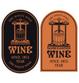 labels for wine with a wine press and barrel vector image vector image