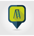 Ladder stepladder stair flat pin map icon vector image vector image
