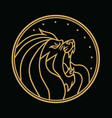 lion roaring circle gold logo black vector image