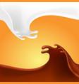 liquid chocolate and milk flow on orange vector image vector image