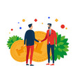 men on the background of money shake hands vector image vector image