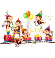 monkey group in party theme isolated on white vector image vector image