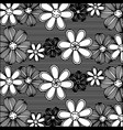 monochrome pattern of rows flowers with stripes vector image vector image