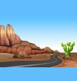 nature scene with empty road in desert land vector image