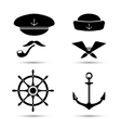 nautical icons captain and sailor sea set vector image vector image