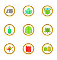 paintball equipment icons set cartoon style vector image vector image