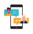 people chatting on mobile multicultural vector image