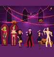 people having fun at halloween party decorated vector image vector image