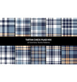 plaid pattern set blue yellow white vector image vector image