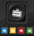 Rent icon symbol Set of five colorful stylish vector image vector image