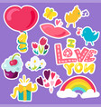 romantic love patches set in doodle style with vector image vector image